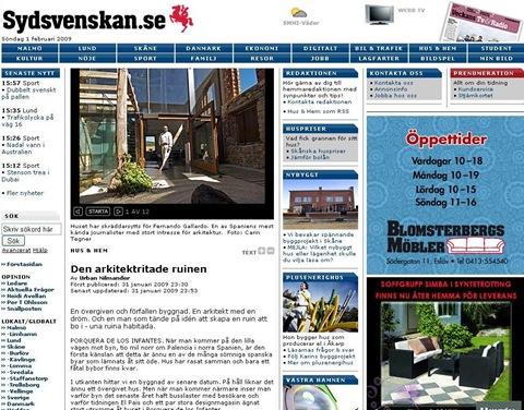 Reportaje sobre La Ruina Habitada en Sydsvenskan