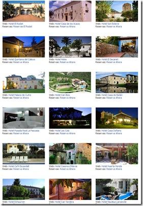 Pestaña de reservas de hoteles pertenecientes al Clúster de la Ruina Habitada